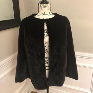 New Ann Taylor New Black Faux Fur Poncho